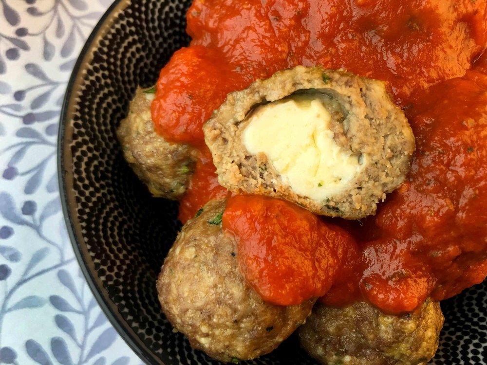 Low Carb Mozzarella Filled Meatballs