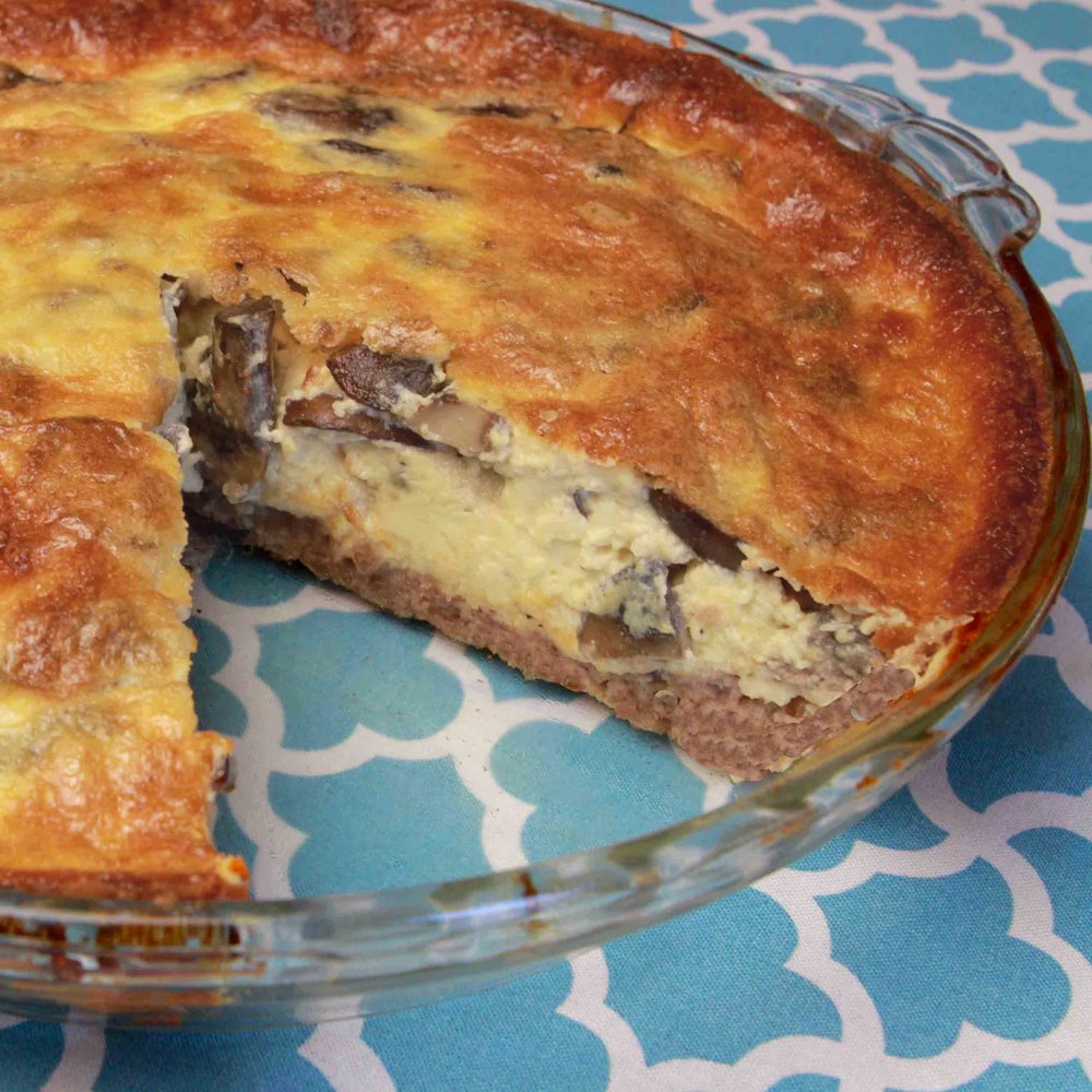Low Carb Mushroom Quiche with Sausage Crust Recipe