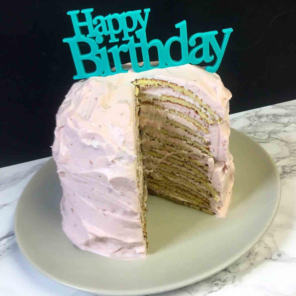Low Carb Keto Raspberry Crepe Layer Cake Recipe