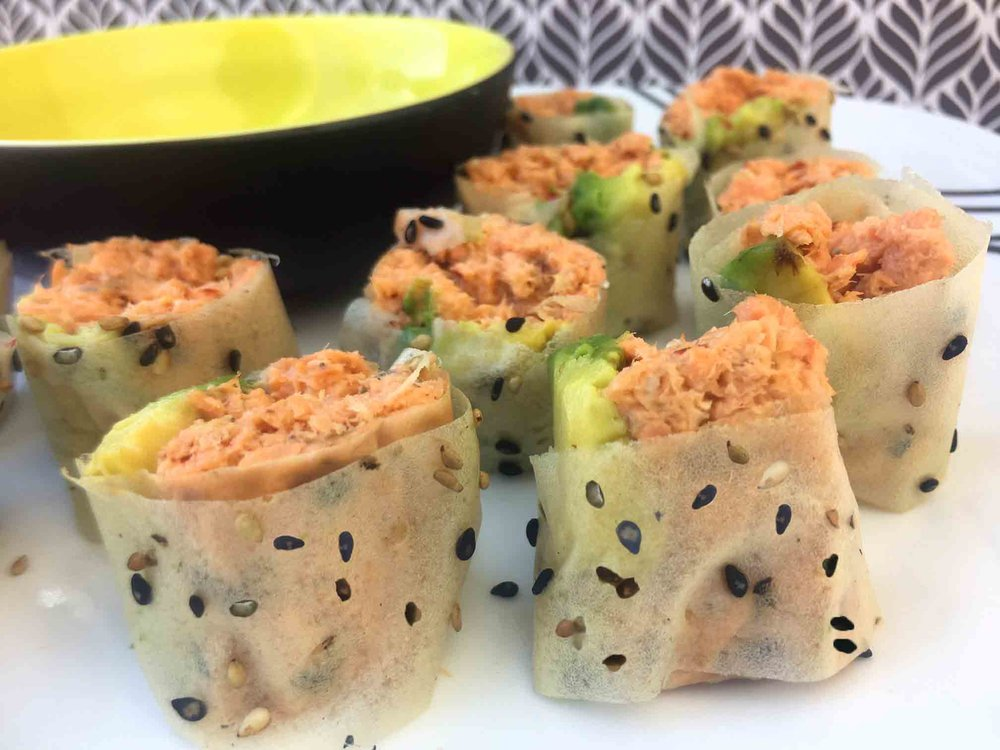 Low Carb Keto Soy Wrapped Spicy Salmon Sushi Roll Recipe