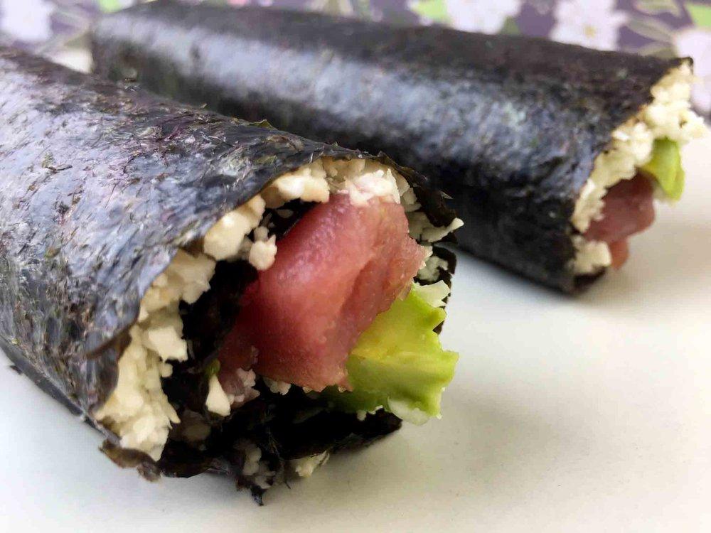 Low Carb Tuna Avocado Roll with Cauliflower Rice Recipe