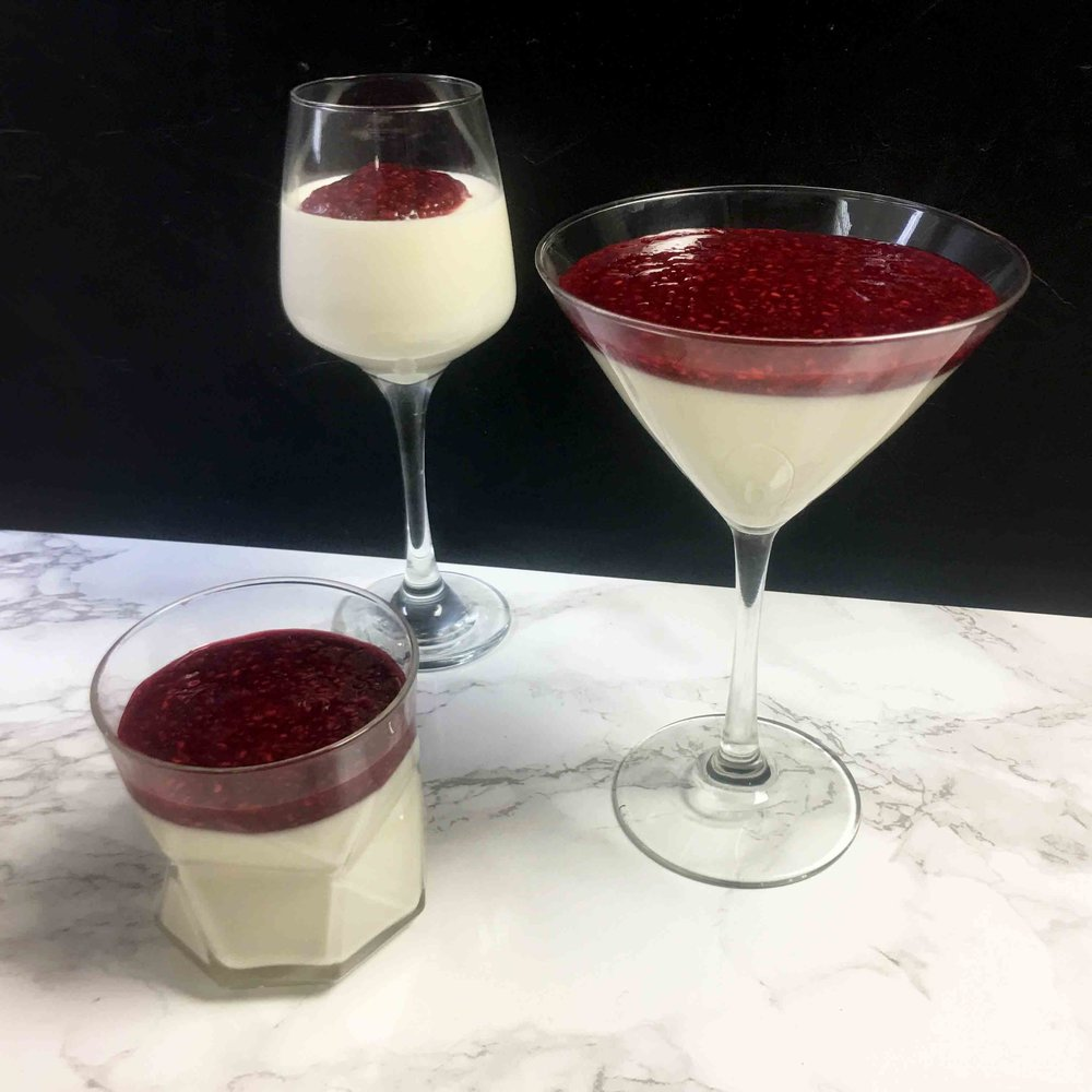 Low Carb Coconut Panna Cotta with Raspberry Chia Jam