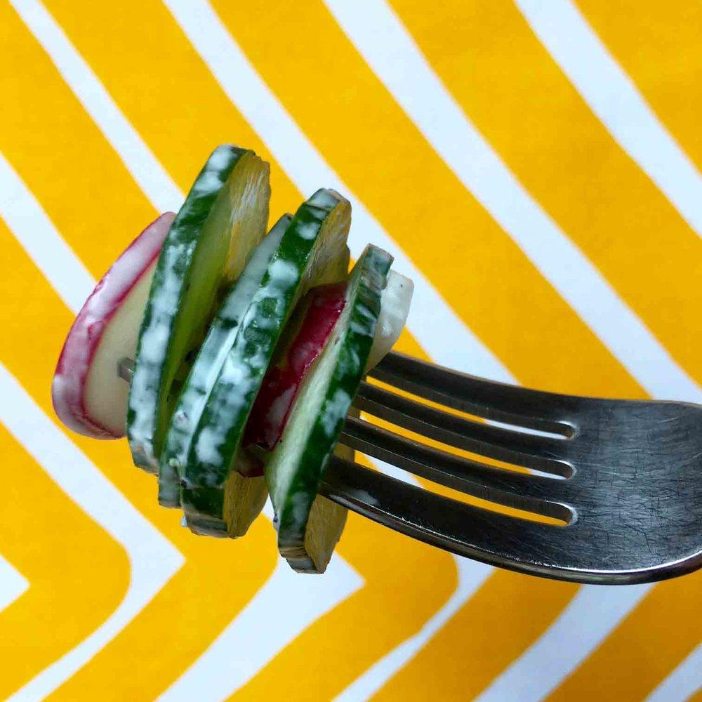 Low Carb Keto Creamy Radish and Cucumber Salad Recipe