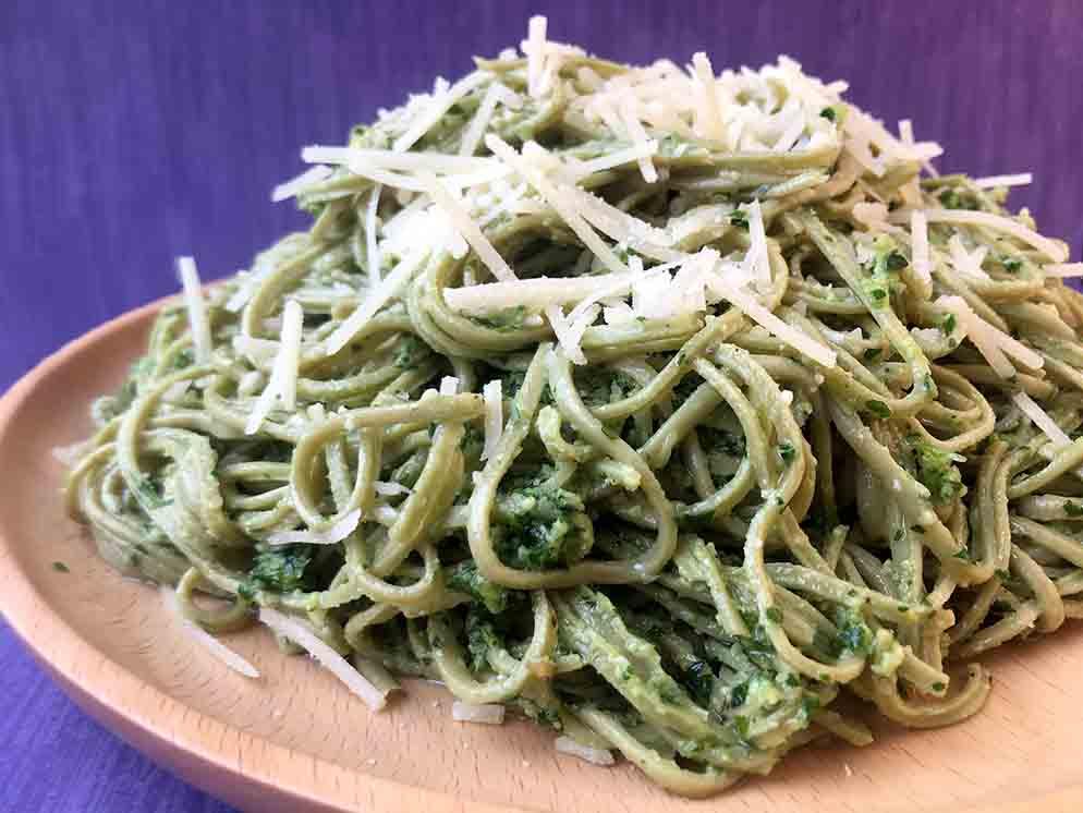 Low Carb Edamame Pesto Spaghetti Recipe