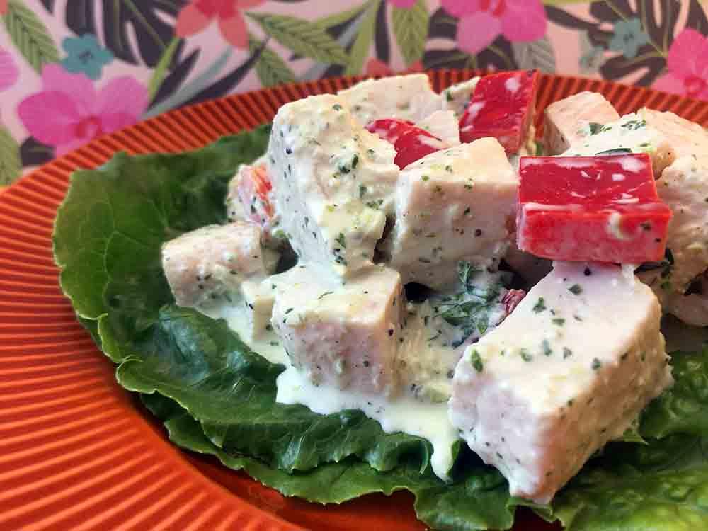 Low Carb Keto Green Goddess Chicken Salad Recipe