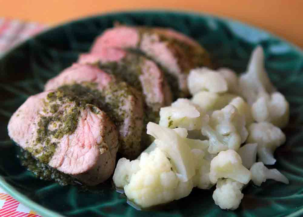 Low Carb Keto Pork Tenderloin with Cilantro Chimichurri Recipe