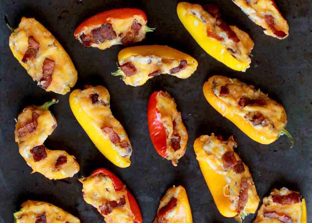 Low Carb Keto Mini Pepper Poppers with Bacon and Caramelized Onions Recipe