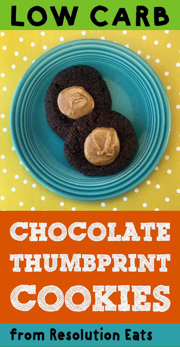 Low Carb Keto Chocolate Peanut Butter Thumbprint Cookie Recipe