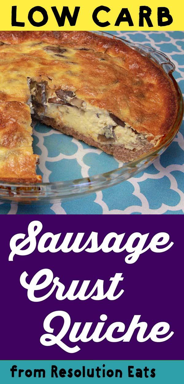 Low Carb Keto Paleo Sausage Crust Mushroom Quiche Recipe