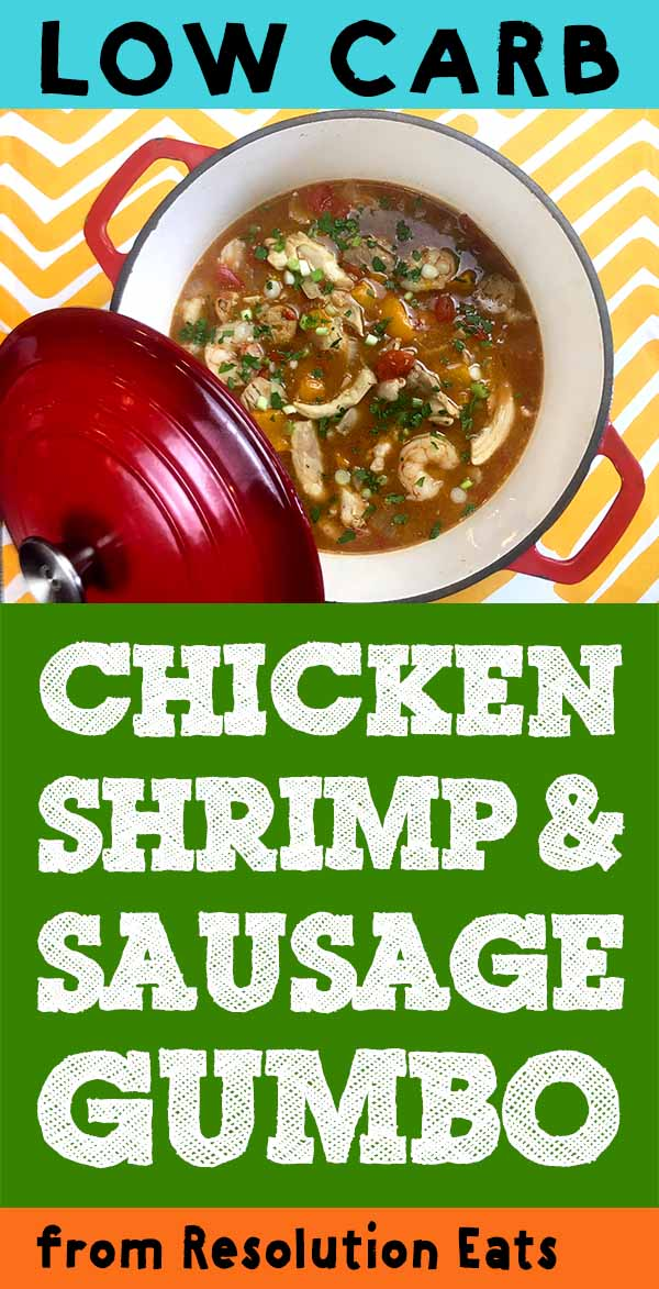 Low Carb Keto Chicken Shrimp and Sausage Gumbo Recipe