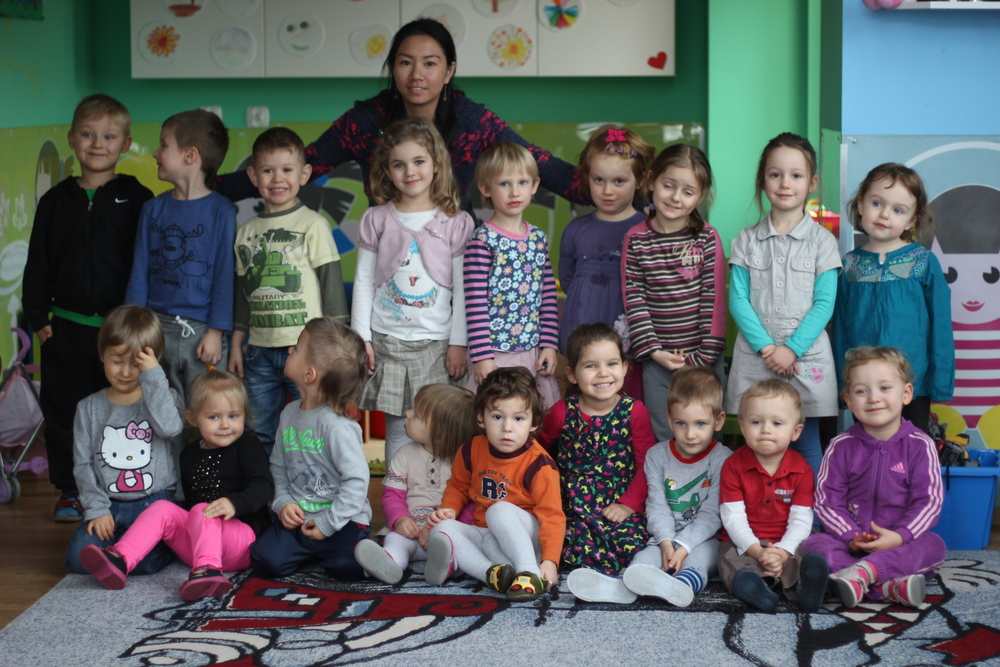 Photo with the kids in the kindergarten.