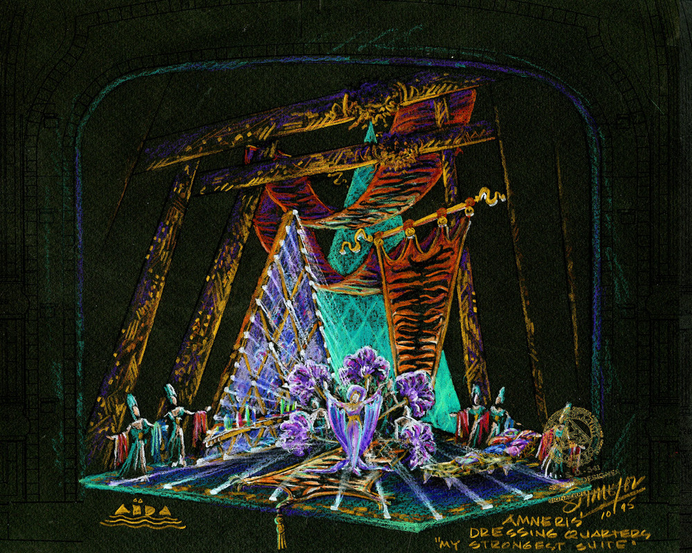 Amneris' Quarters, Original Broadway Color Concept Rendering, New Amsterdam Theatre