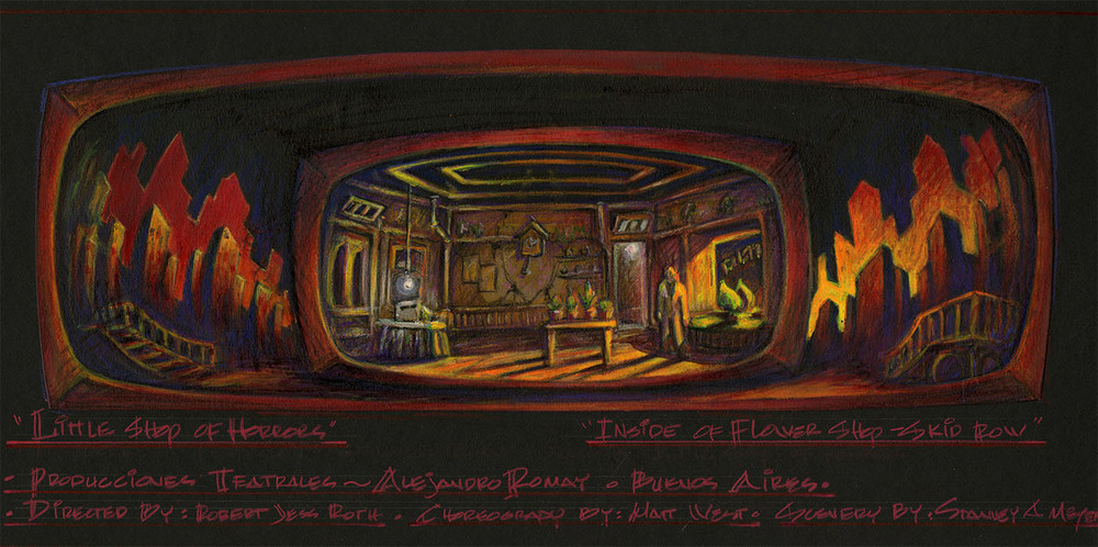 "Scenic Design Color Renderings for ""Inside the Flower Shop on Skid Row"""