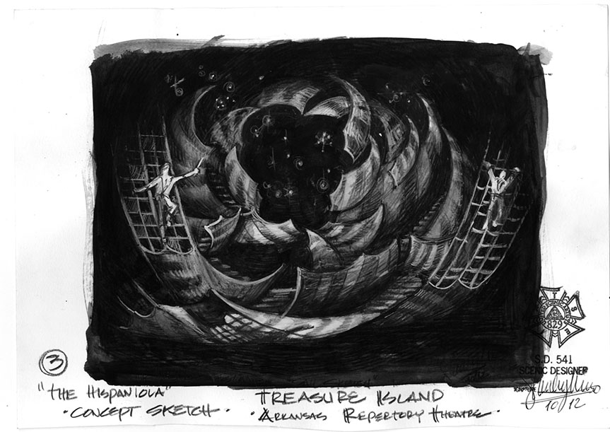 """The Hispaniola"" B&W Concept Sketch"