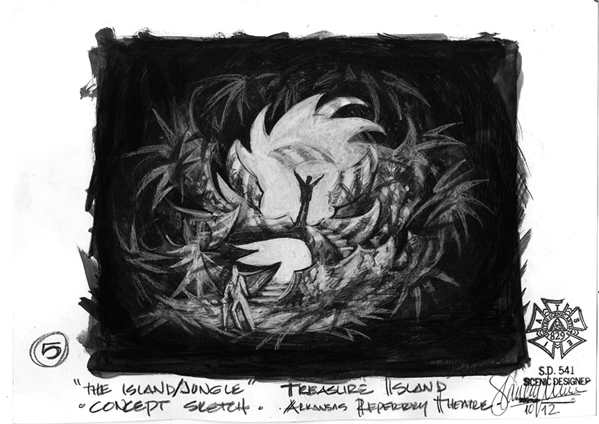 The Island/Jungle B&W Concept Sketch