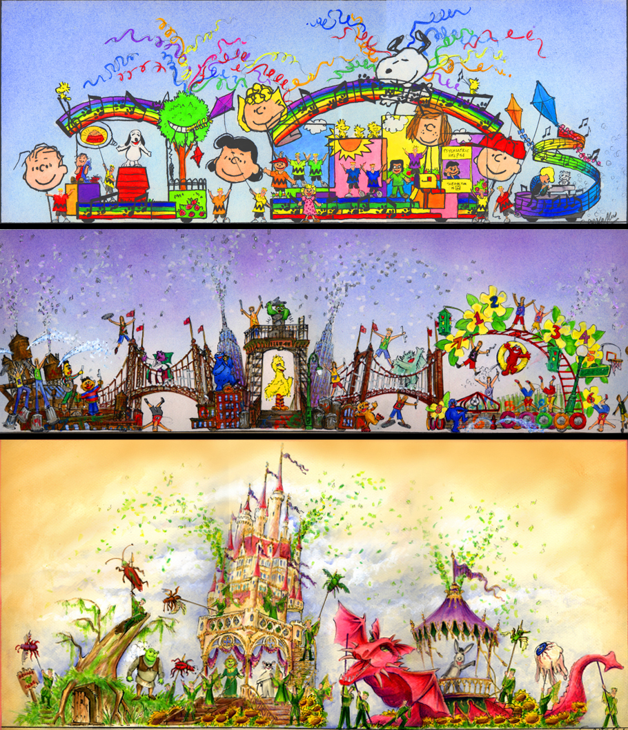 First Concept Color Renderings for the Peanuts/Sesame Street/Shrek Street Show.