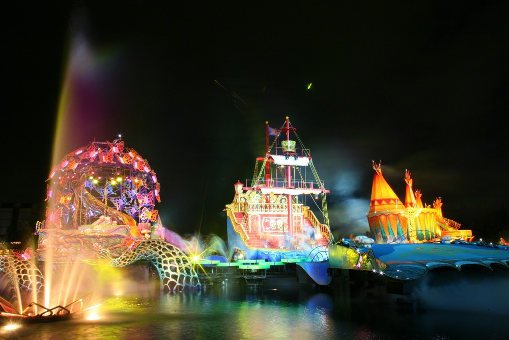 Rehearsal Photo of the Scenic elements on the mermaid Lagoon Japan