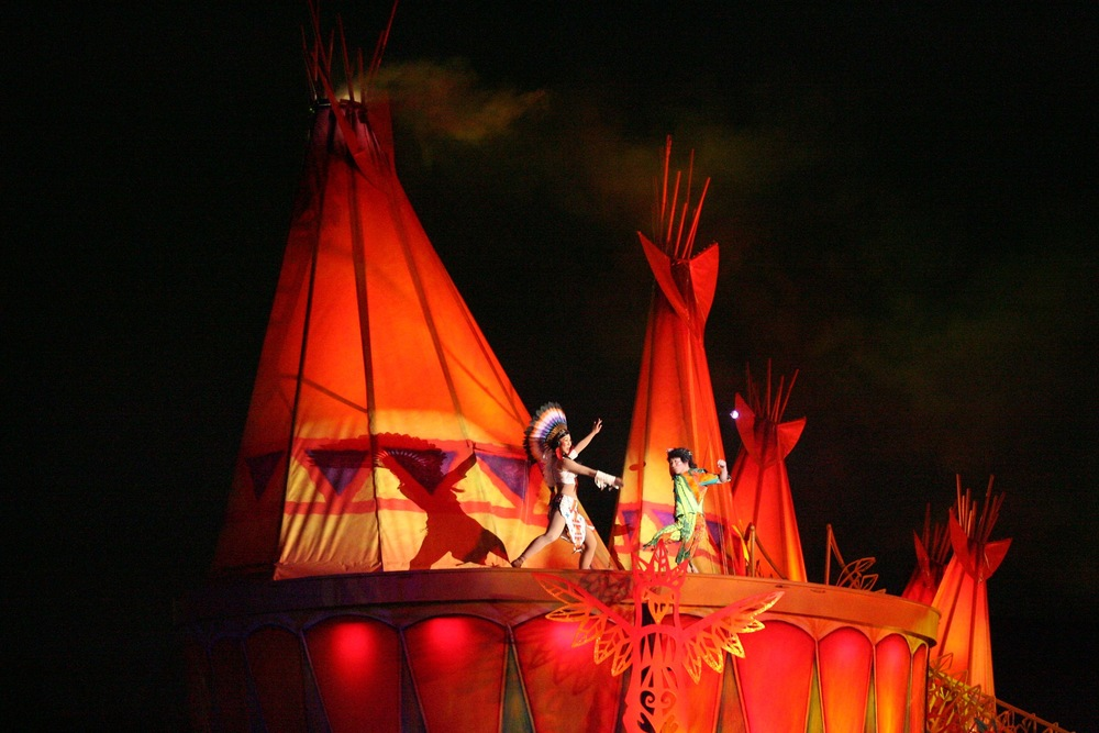 Peter & Tiger Lilly dance in front of Indian Tee-pees on top of the Light up Indian Drum Set.
