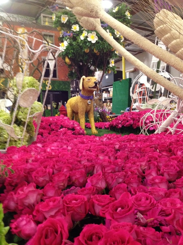 Tag the dog in place amongst the pink roses of the base of the float.