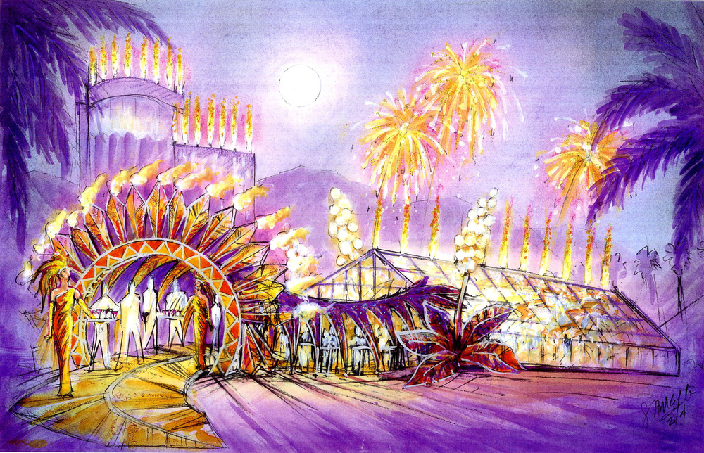 Morongo Casino Grand Opening - Conceptual Color Illustration showing front entrance to the tent.