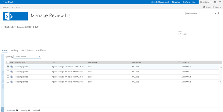 Use bulk content review to approve record disposition in SharePoint with Collabware CLM.
