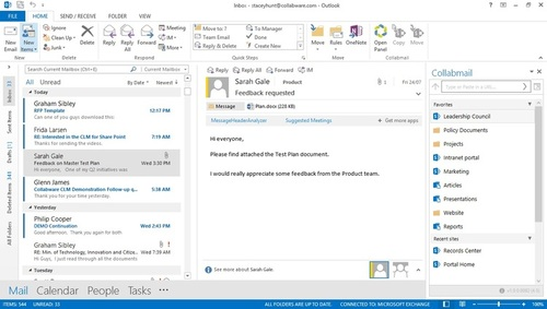 collaboration with collabmail sharepoint ecm integration with outlook