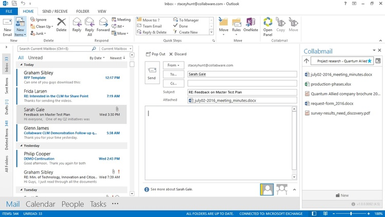 Drag and drop content to and from SharePoint without leaving Outlook.