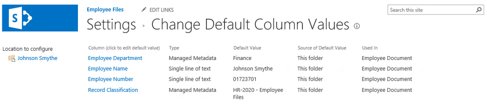 SharePoint Column default values for case management library.