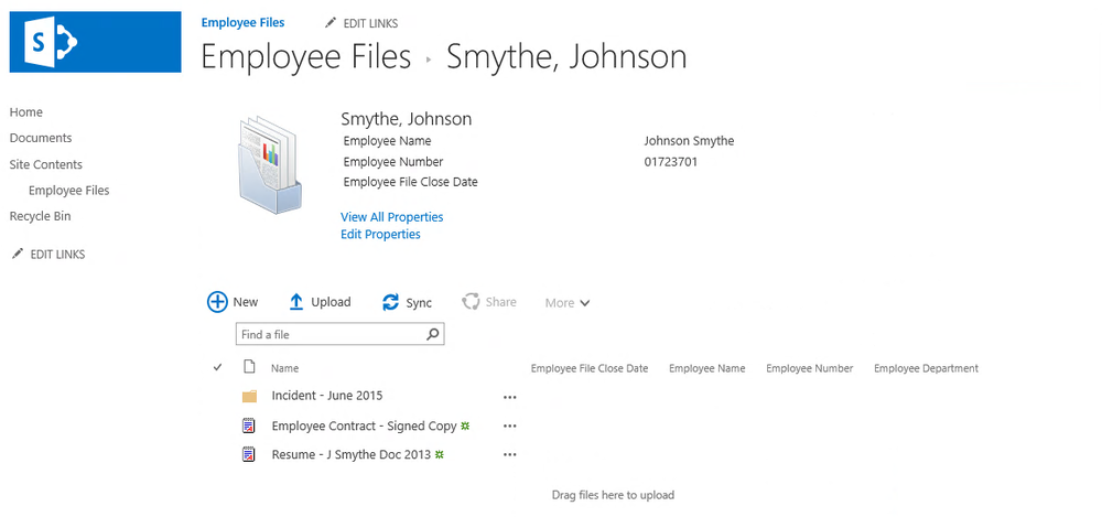 Individual employee file represented as a SharePoint Document Set.
