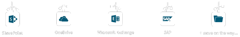 Multi-platform search of SharePoint, OneDrive, Exhange, SAP Fileshare + more. SharePoint Connector.