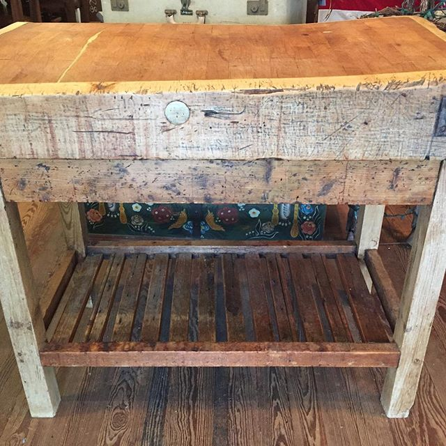 Irish Chopping Block-- come see it at Red Potato Show this weekend #redpotatoshow, #irishfurniture #cowhides #redpotatomarket