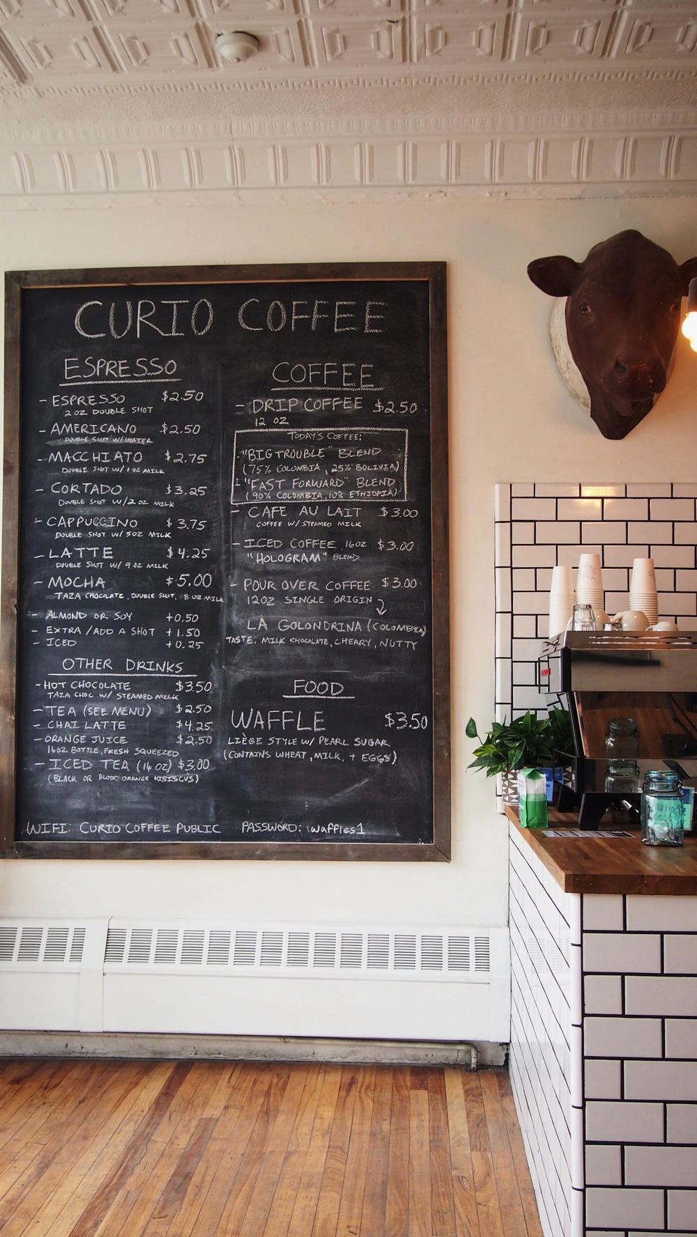 The menu at Curio.