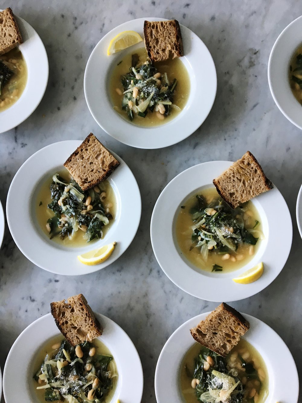 White Bean Soup with Dandelion Greens & Parmesan at Sunday Suppers