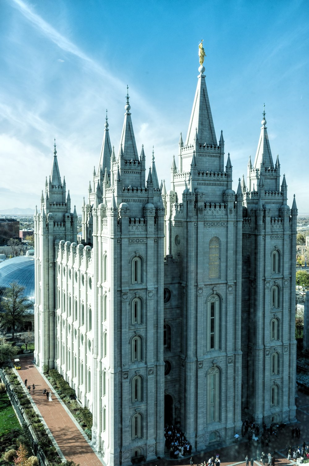 The Salt Lake City Mormon Temple. How many brides do you spy down below?