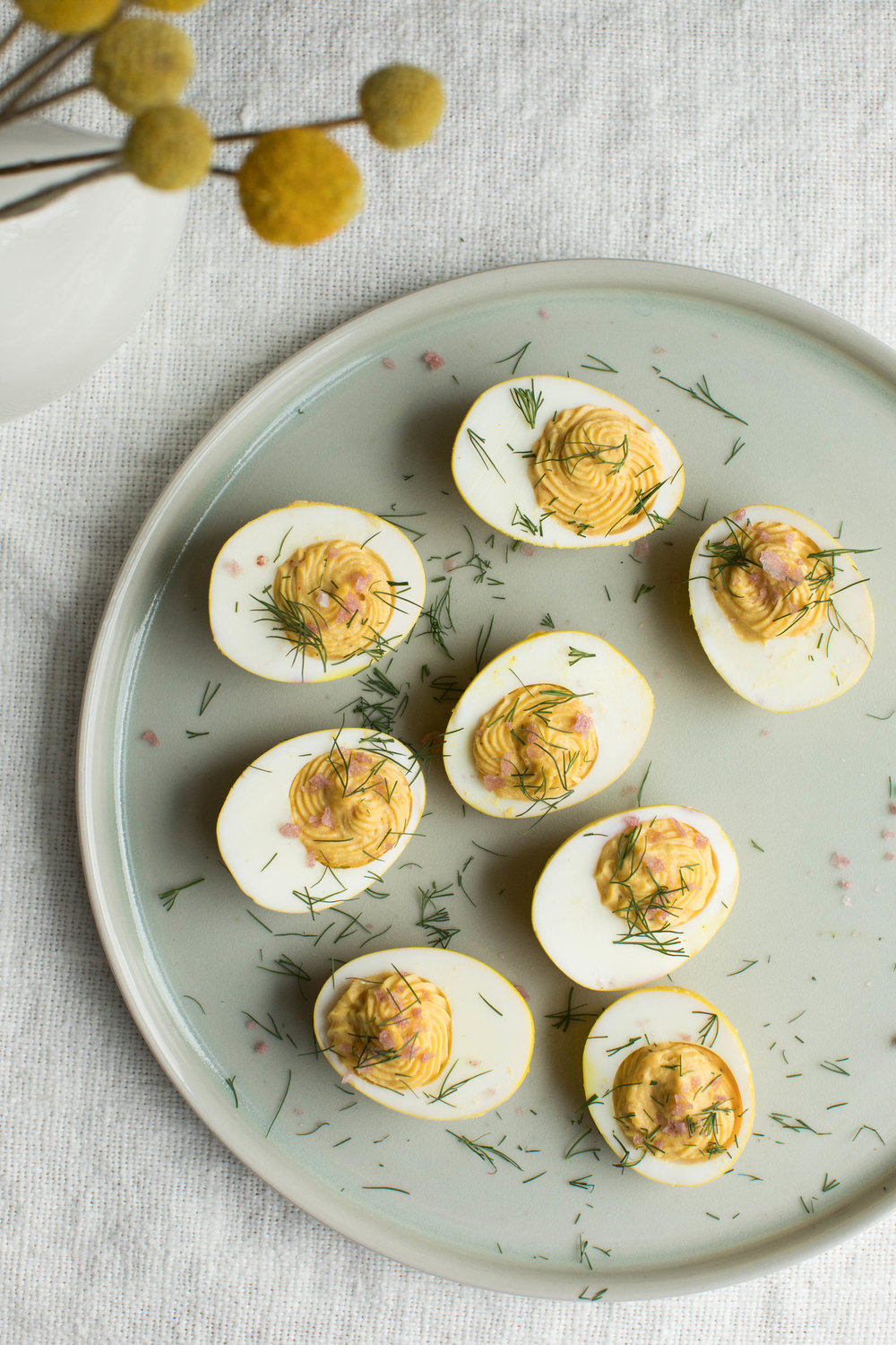 Turmeric pickled deviled eggs.
