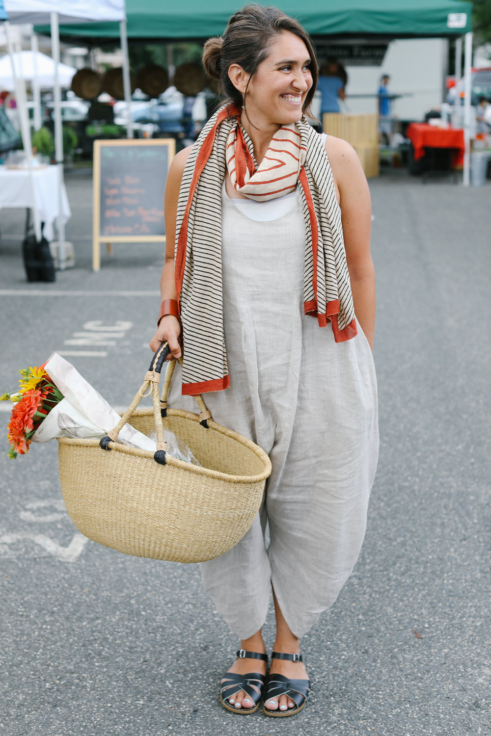 Linen jumper: Artists & Revolutionaries Scarf: Blockshop Textiles Sandals: Saltwater Sandals
