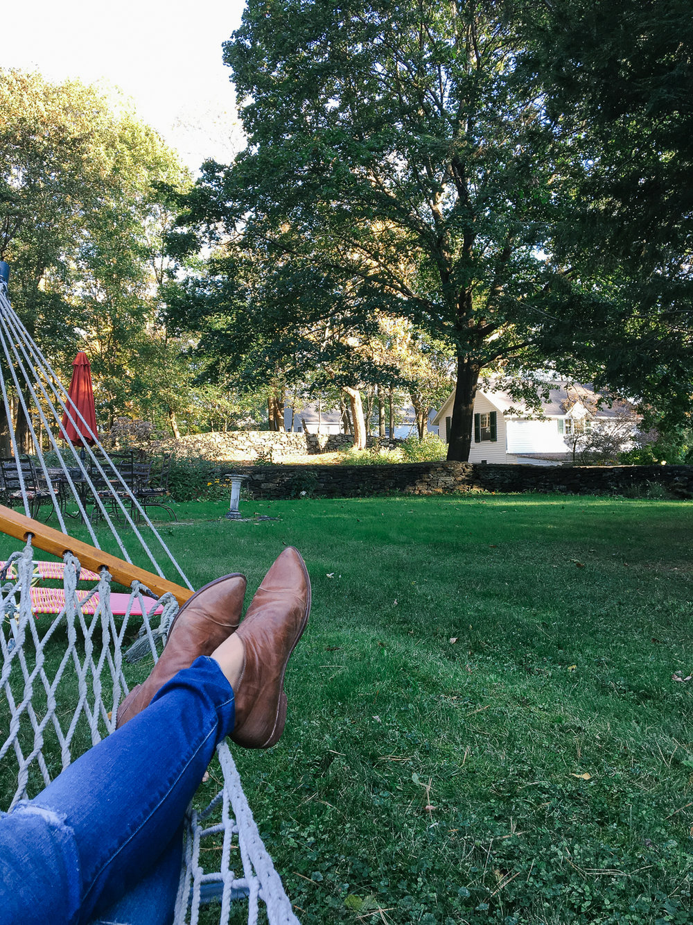 Enjoying the hammock at the Birchwood Inn in Lenox, MA.