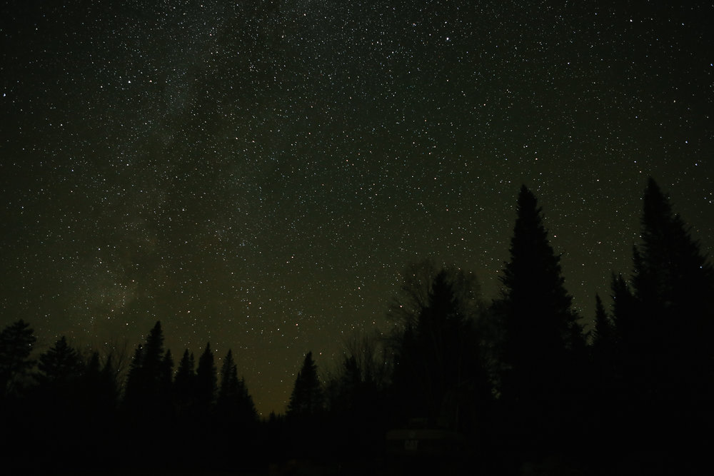 The starlit sky at Medawisla Lodge in Greenville, Maine.