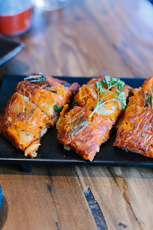 Kimchi pancake!! So good.