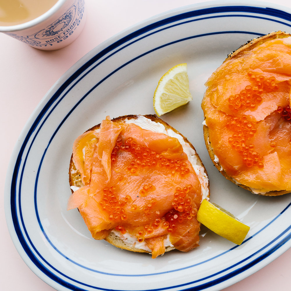 Luxe lox bagel sandwich at Rose Foods