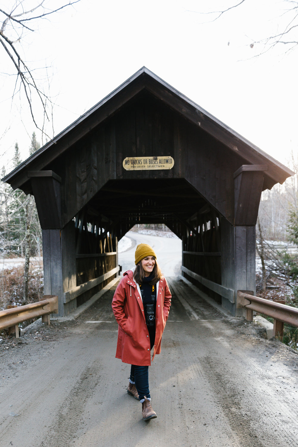 Cheesin' at the Goldbrook Covered Bridge