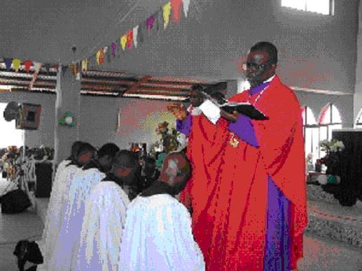 LCN President, Rev. Effiong Ekanem ordaining five new pastors.