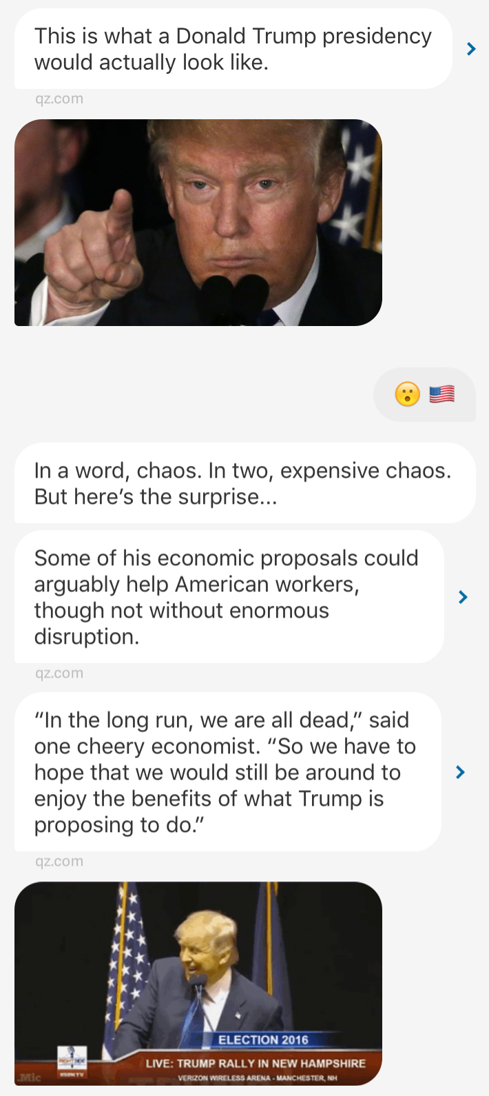 "The flow of a typical ""story"" in the Quartz app often contains multiple visual elements and lots of charm, like this story about Donald Trump."