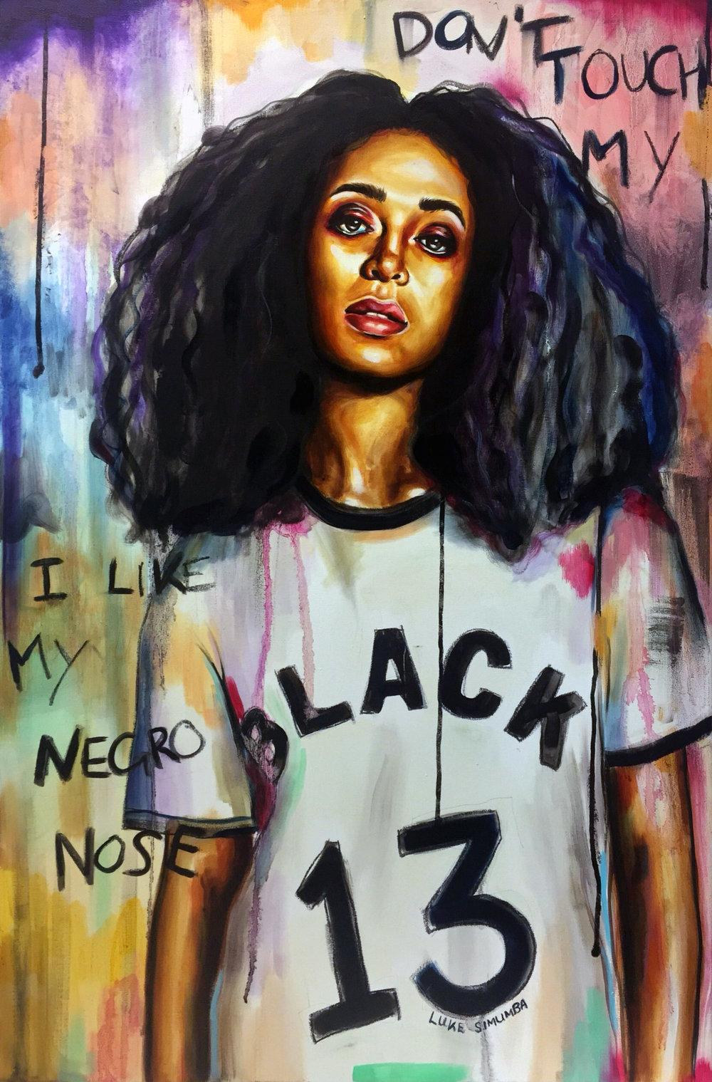 Luke Simumba, Don't Touch My Hair, painting.JPG
