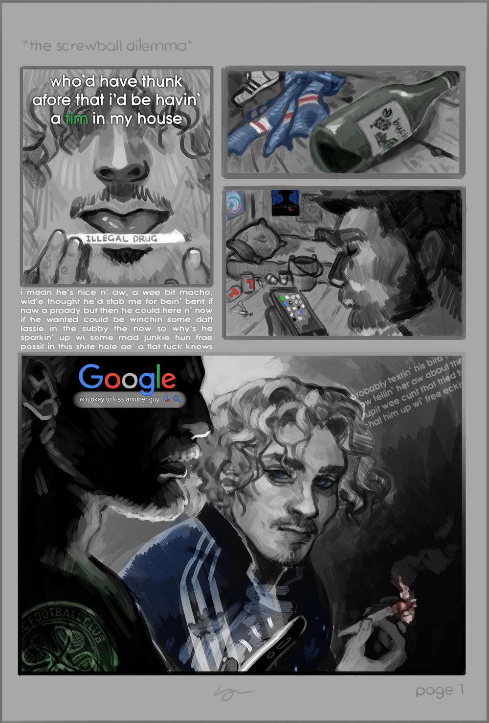 Leotie Whitelaw, The Screwball Dilemma, cartoon, page 1.jpg
