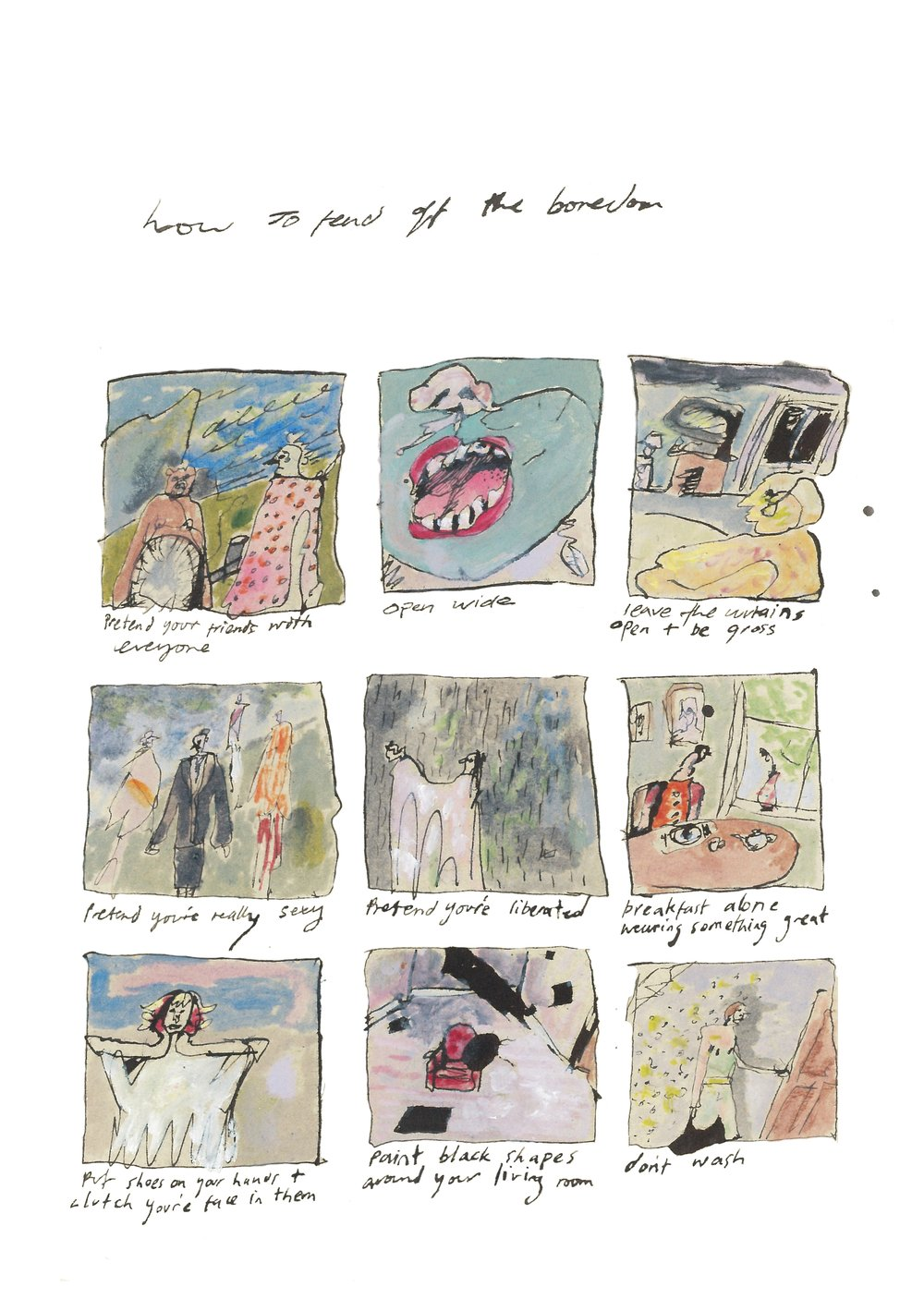 Tess Glen, How To Fend Off The Boredom, cartoon.JPG