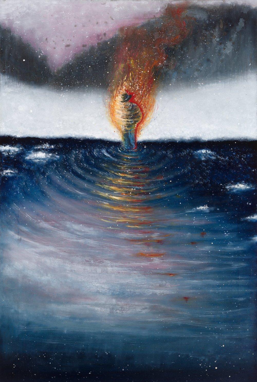 Max Boyla, Man on Fire, painting.jpg