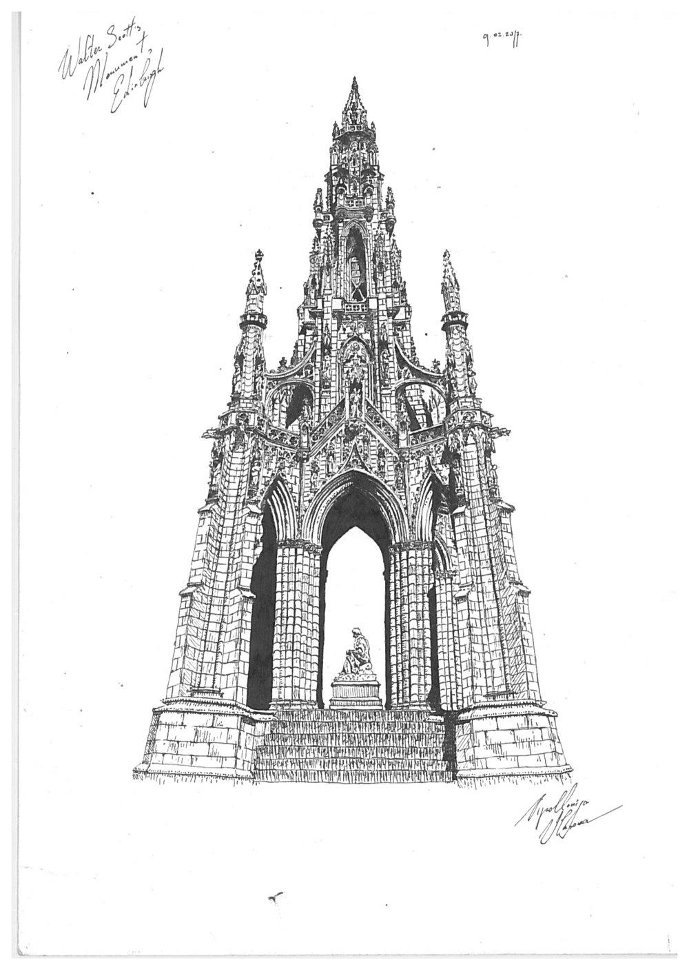 Apolloniya Vlasova, Walter Scott Monument, drawing, description.jpg