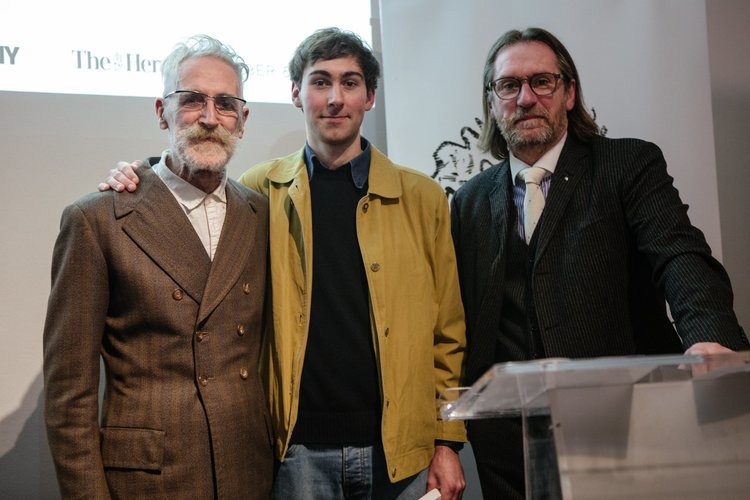 Overall Winner Harry Maberly Pictured with Artist John Byrne (left) and Chancellor of Edinburgh Napier University David Eustace (Right).