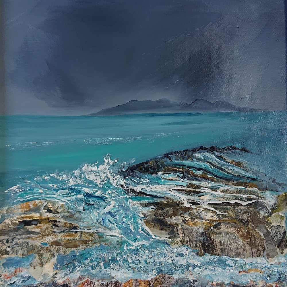 Laig Bay Eigg, oil and collage on canvas, 30 x 30 cm, 2018.jpg